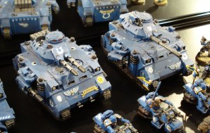 Ultramarines Predators on display at Warhammer World