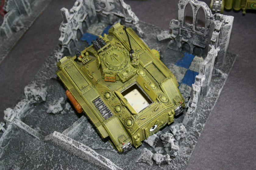 One of Simon's Chimera transports. Note that he has used A Forgeworld Heavy Bolter turret and has added full track guards (also from Forgeworld) as well.
