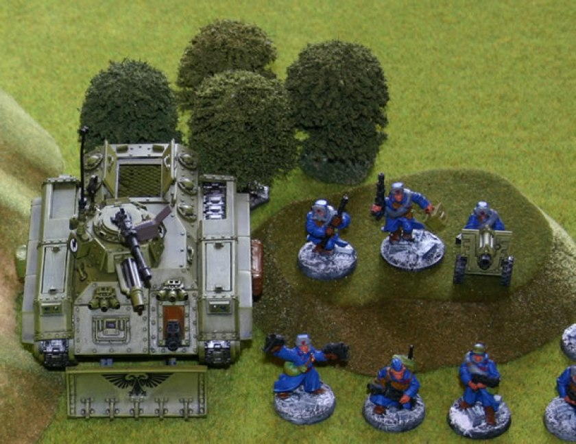 Imperial Guard with Chimera Transport advance.