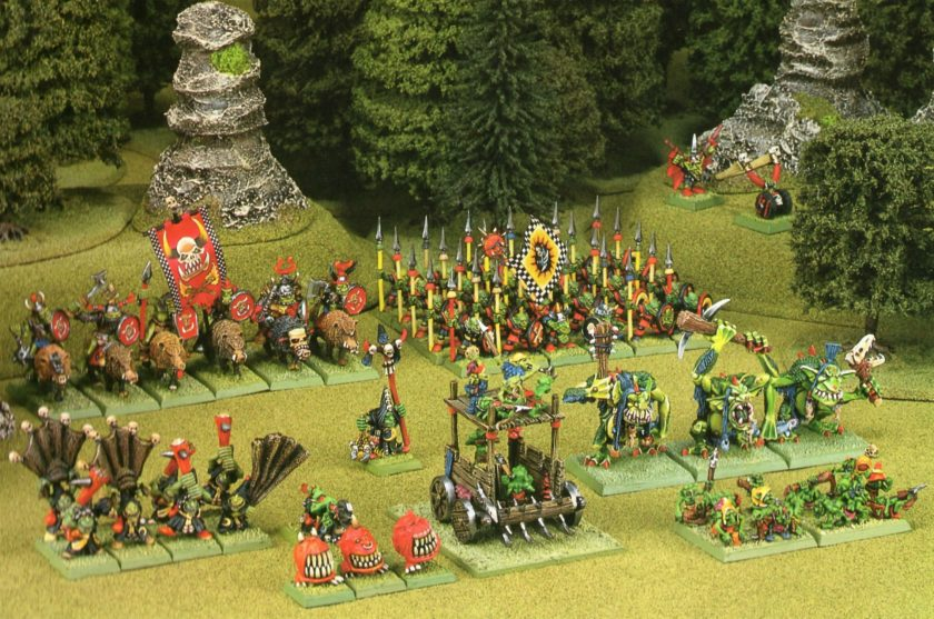 Orc Boar Riders  and Goblins with Trolls and Snotlings in support. Check out the liberal use of Goblin Green and the amazing Snotling Pump Wagon.