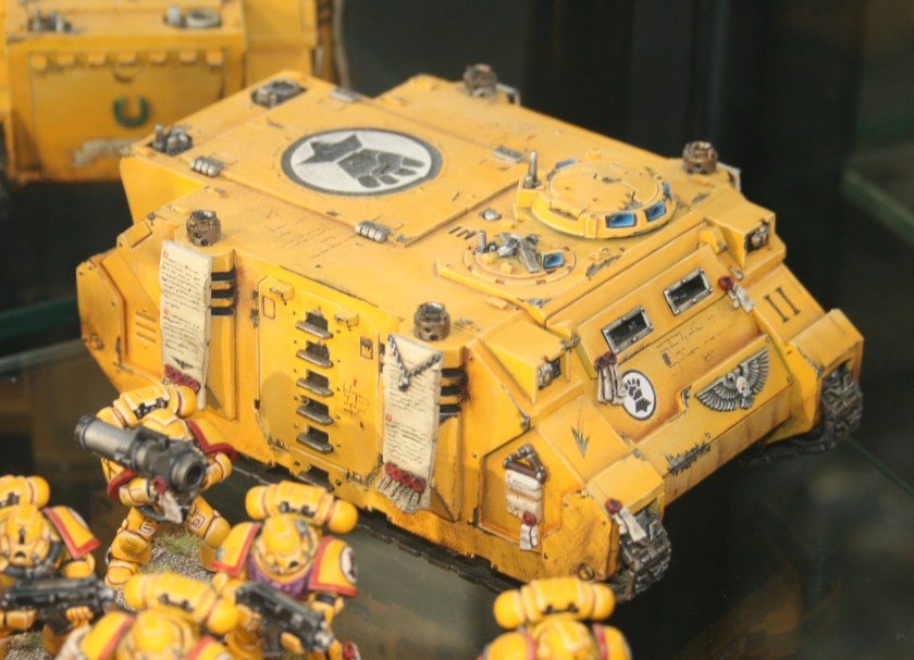 Imperial Fists Rhino on display at Warhammer World.