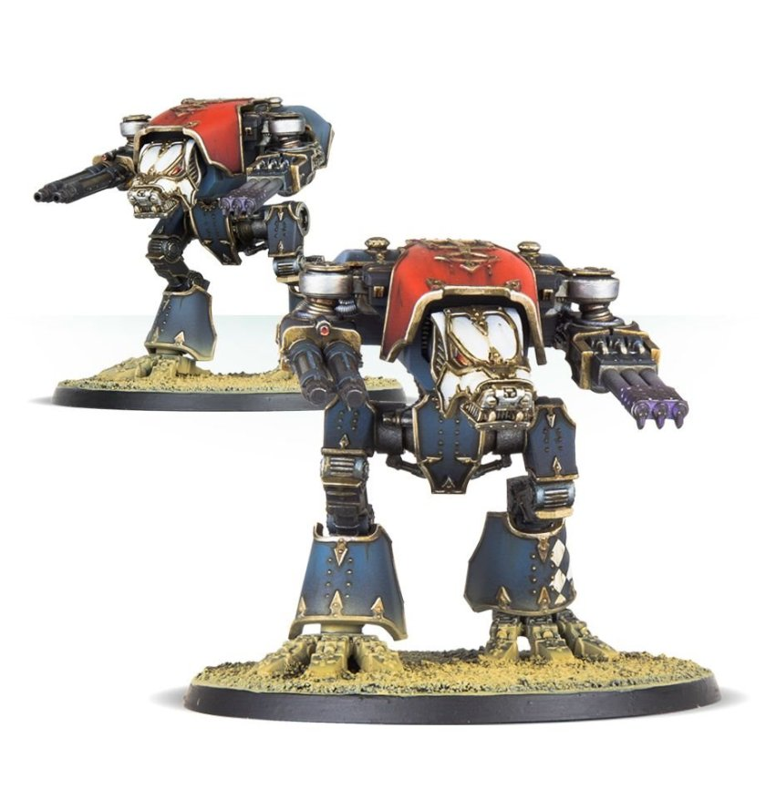 Warhound Scout Titans, each with a choice of plasma blastgun, turbo laser destructor, Vulcan mega-bolter, and inferno gun
