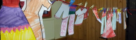 Paper clothes made by children at the Fish and Chip club, Sunday 9 June, 2013 - whilst learning the Biblical story of Dorcas, Acts of the Apostles