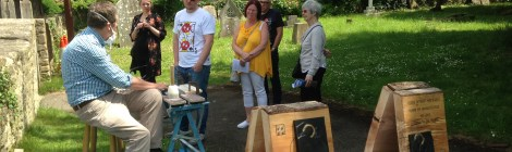 Stone carving demonstration in the churchyard