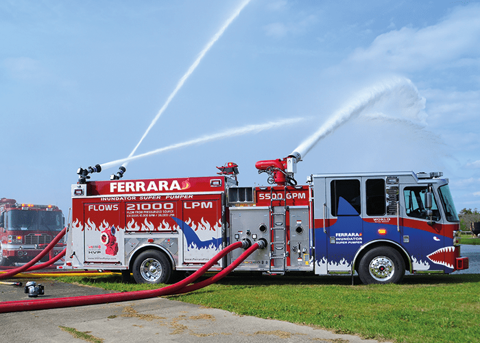 The Ferrara Inundator Super Pumper can reach 10,000+ GPM from a pressurized source.