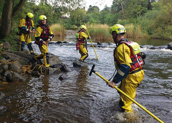 Environmental Agency training with Wading Poles and Throwlines.