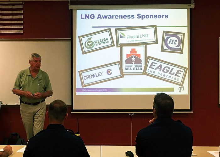 Tom Guldner, President of Marine Firefighting Inc. instructs a classroom of Jacksonville, Florida First Responders in the properties of LNG and safety during emergency responses.