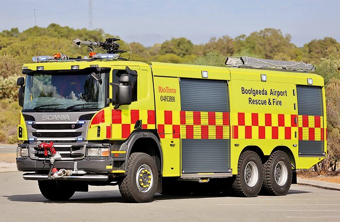 A stunning image highlighting the clean lines of the innovative Scania P360 CB6x6 HHZ airport crash tender supplied to Boolgeeda Airport in Western Australia.