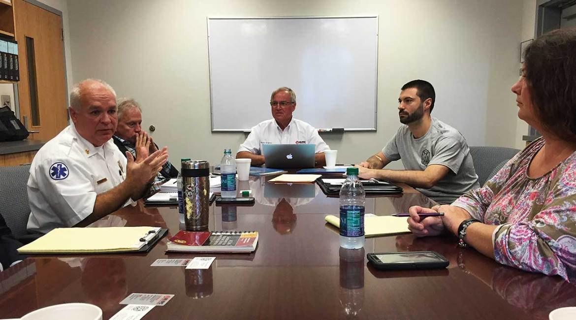 NVFC Chair Kevin D. Quinn and staff member Dave Finger met with Cherryville Fire Chief and NVFC board member Jeff Cash and physicians in July to discuss Cherryville Fire Department's annual firefighter physicals program.