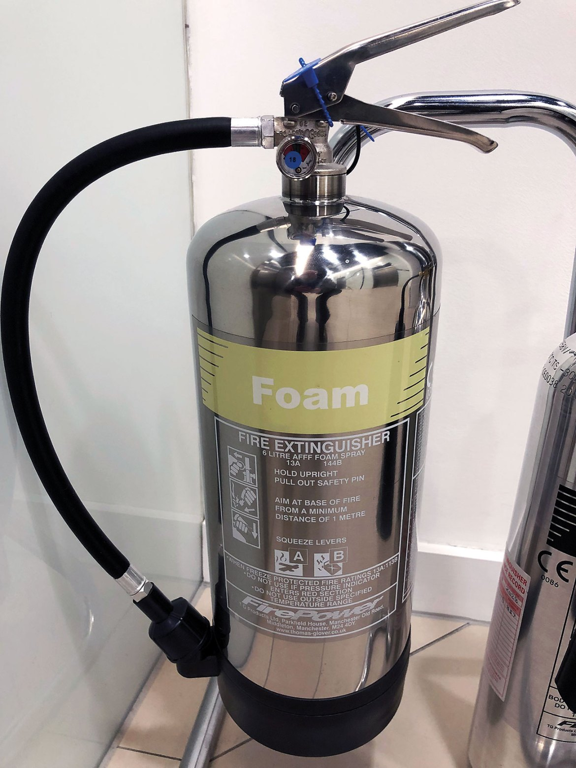 Typical office AFFF fire extinguisher containing PFAS.