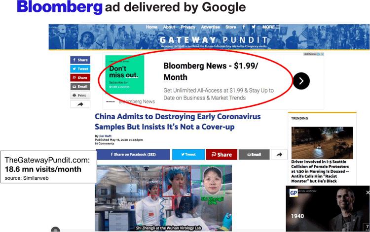 Bloomberg News ad on fake-news Gateway Pundit article