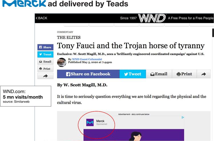 Merck ad on fake-news WBD article