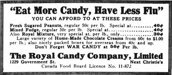 1918 Flu Ad: Eat more candy, have less flu