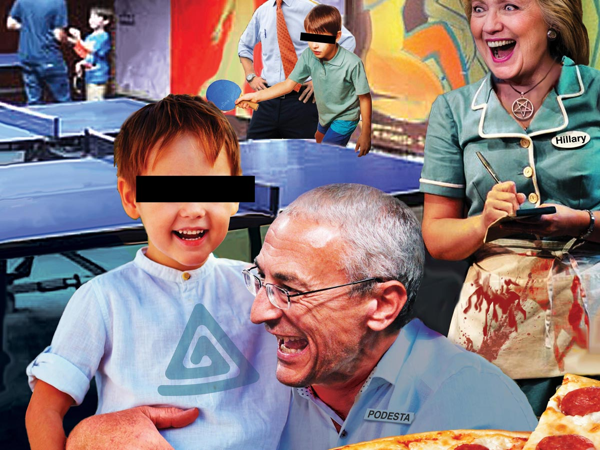 Fantasy illustration of pizzagate conspiracy, by David Dees