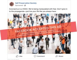 Ad: Coronavirus is a Hoax, accepted by Facebook in Consumer Reprts test