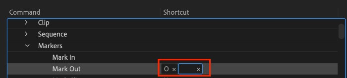 Assign another key for the command shortcut