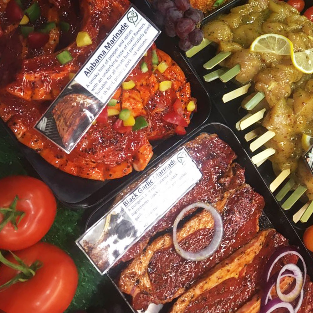 BBQ ready with some bestsellers! Our popular Alabama and Black Garlic Marinades on display.