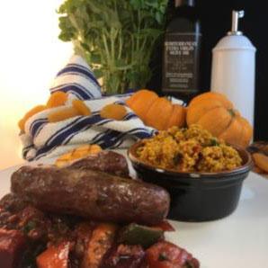 Arthur Pipkins Premium Lamb and Apricot Sausage with Harissa Couscous