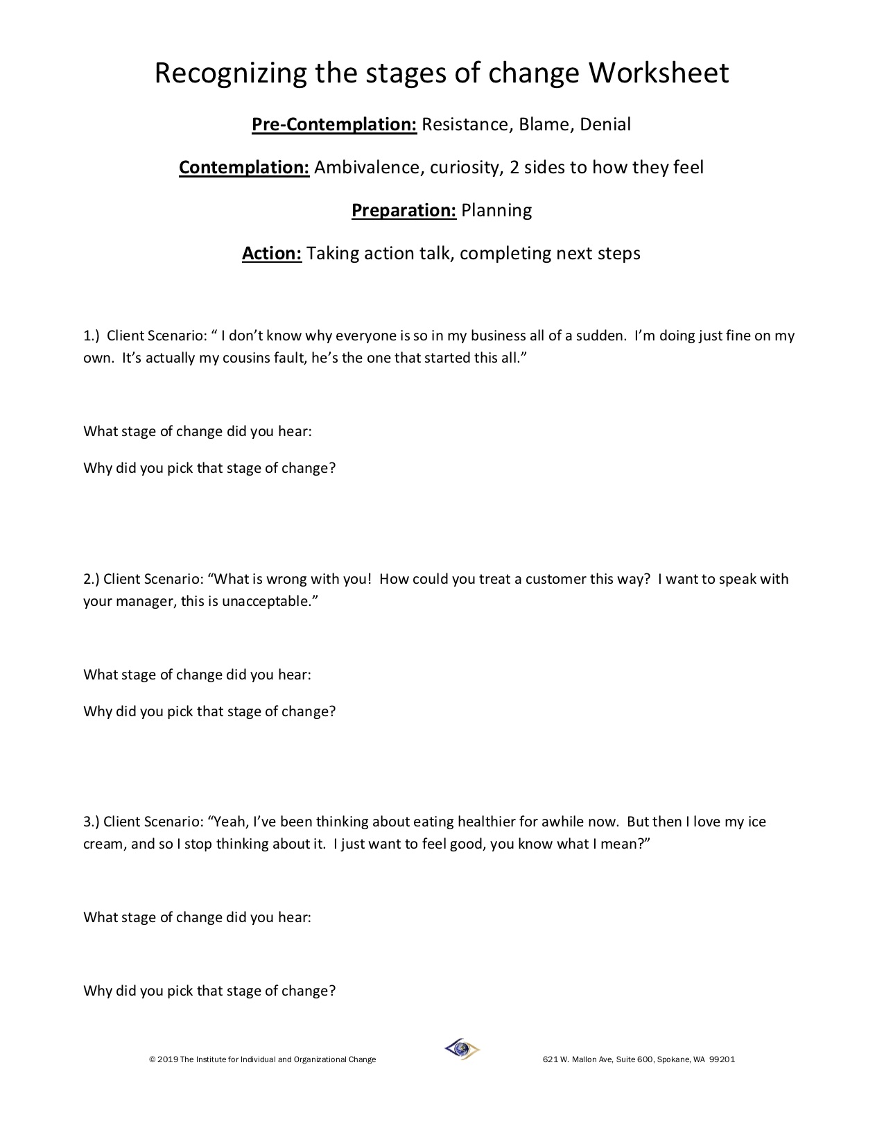 Stages Of Change Worksheet : stages, change, worksheet, Skill, Building, Worksheets:, Stages, Change, Practice, IFIOC