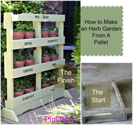 Herb garden made from a wood pallet