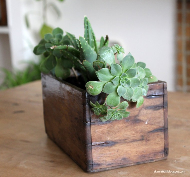 Wooden planter made from reclaimed wood