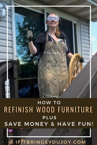 Woman refinishing wood furniture