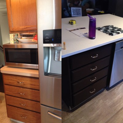 Before and after look at kitchen cabinets that have been refinished