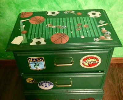 Decorative table in sports theme room