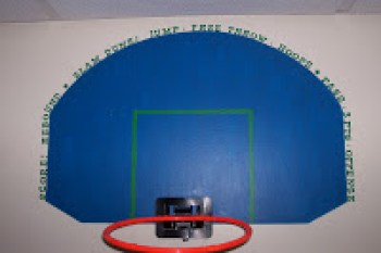 Painted basketball hoop for sports theme room