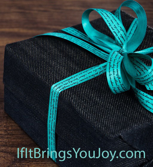 Gift package with blue bow