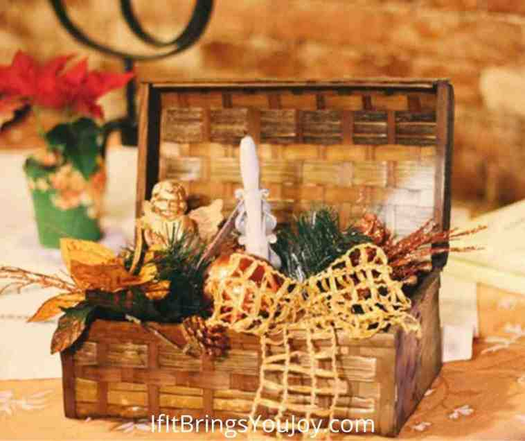 Suitcase style basket as a decor container