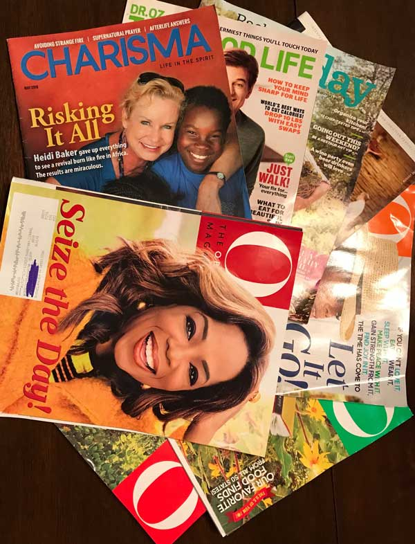 Collection of magazines to make a vision board