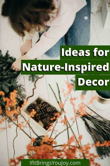 Woman making nature-inspired decor