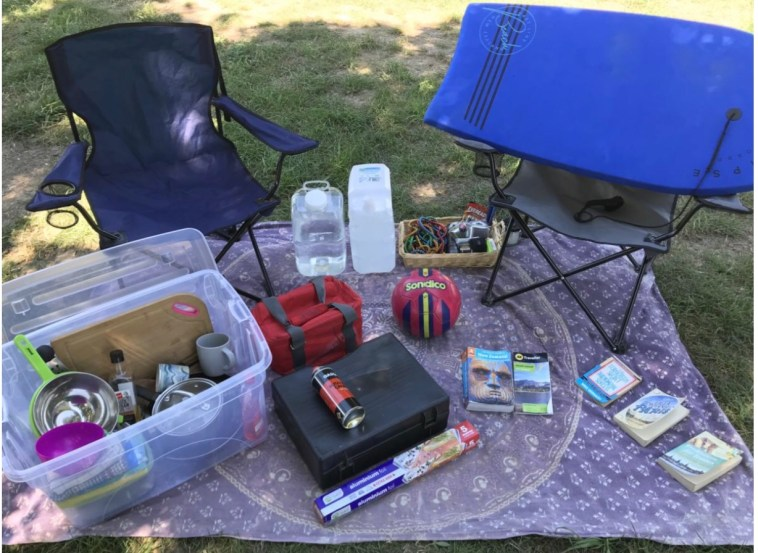 Car included supplies for camping and fun