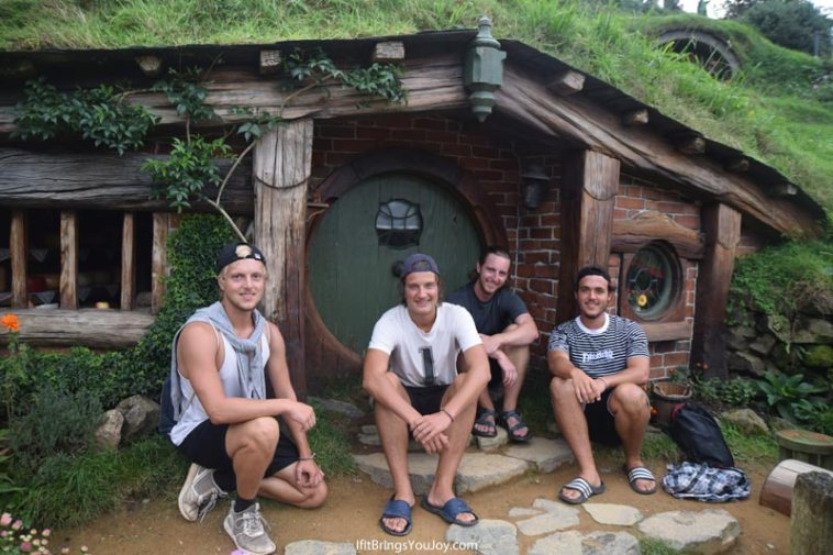 Travel mates at Hobbiton movie set