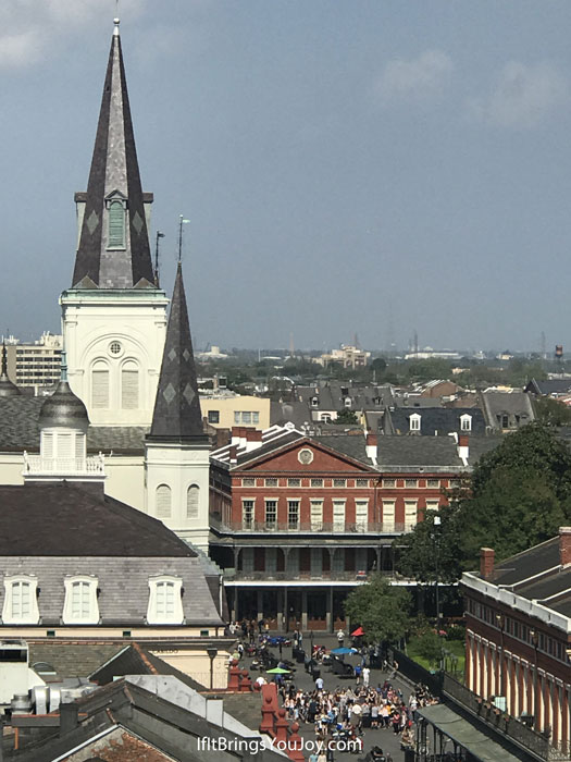 Aerial view of Jackson Square in New Orleans - just one of the interesting photos of architecture in New Orleans. #travel