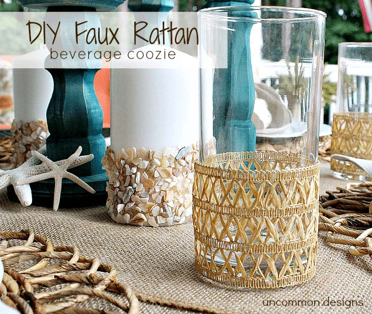 DIY fax rattan beverage coozie for summer fun on the deck.