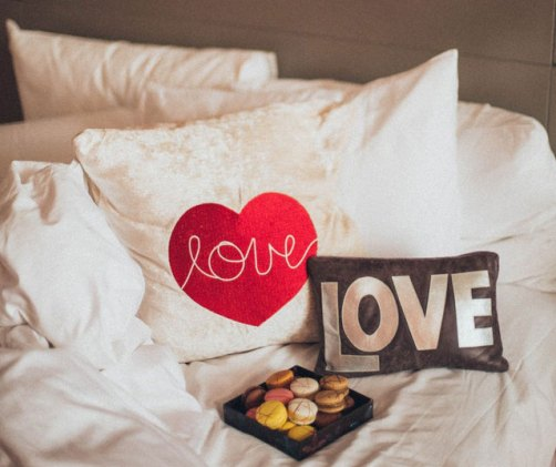 Pillows with the word love