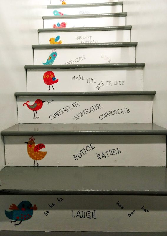 Inspirational words painted on a staircase