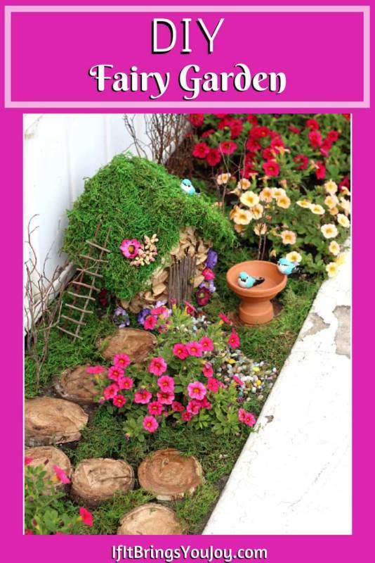 Colorful fairy garden