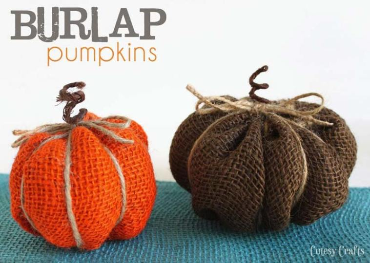 Burlap halloween pumpkin decor