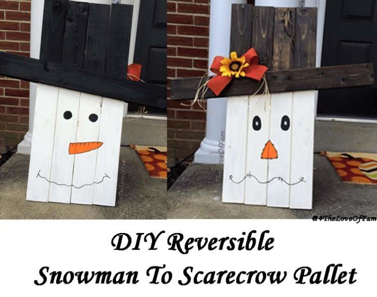 Reversible snowman to scarecrow porch decor