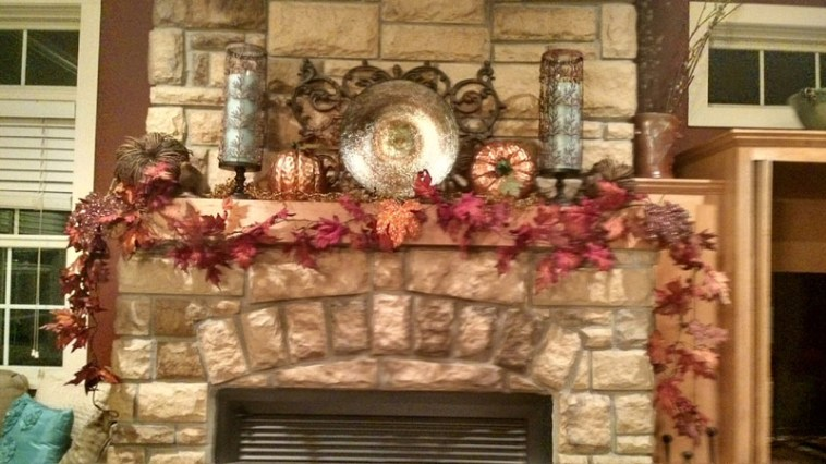 Mantel decorated for the fall season