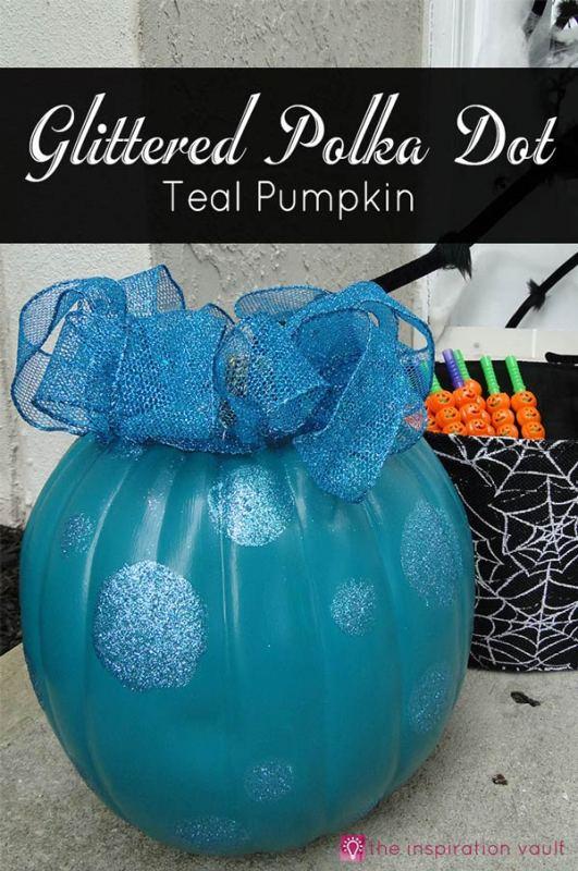 Teal pumpkin Halloween decor