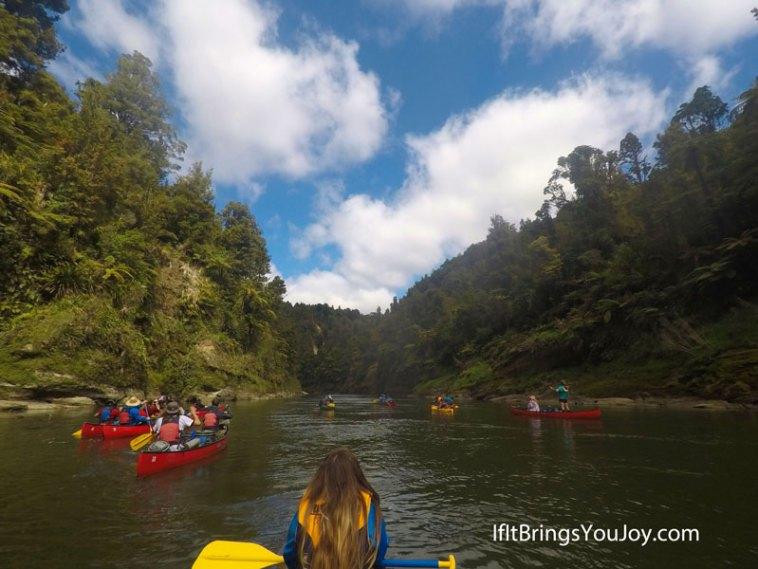 Friends on a canoe trip in New Zealand