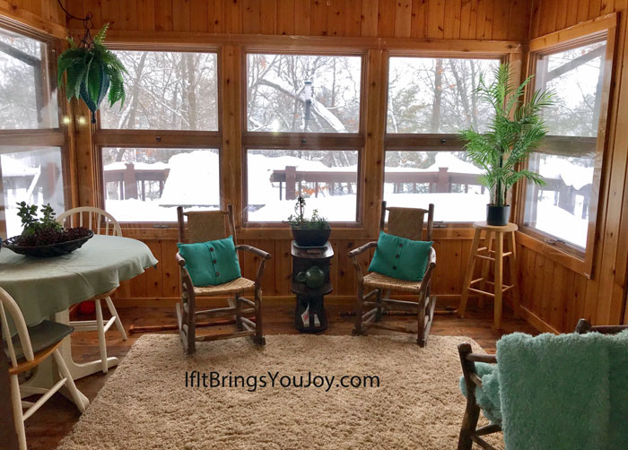 A sun room filled with positive items to attract positive energy.