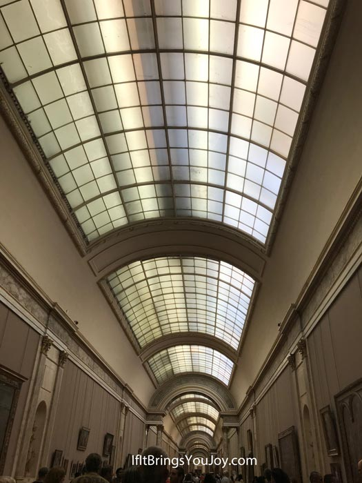 Interesting ceiling of an exhibition hall in the Louvre Museum