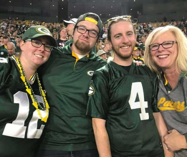 Family at a Packer game