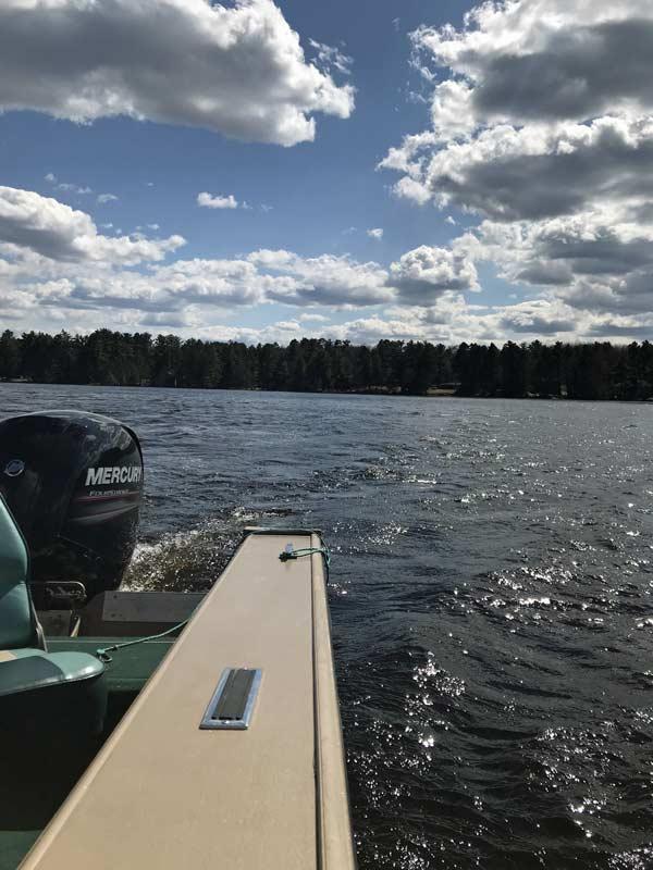 Enjoying boating on a lake