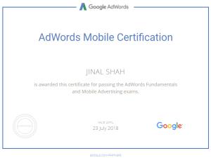 google adwords mobile certification-jinal shah-www.ifiweremarketing.com